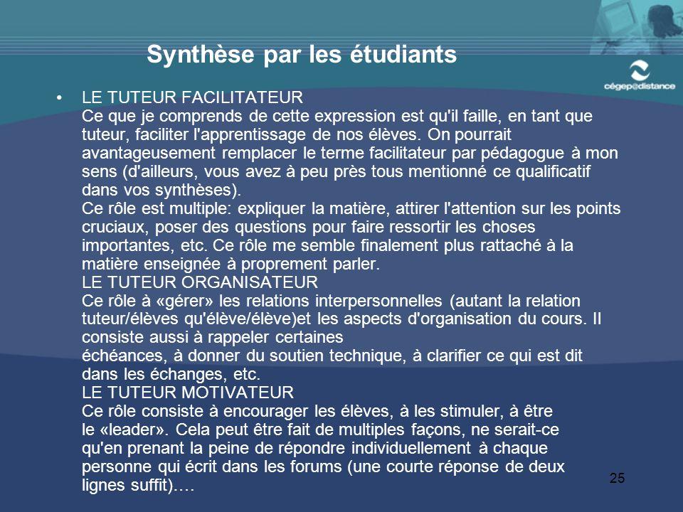 25 Synthèse par les étudiants LE TUTEUR FACILITATEUR Ce que je comprends de cette expression est qu il faille, en tant que tuteur, faciliter l apprentissage de nos élèves.