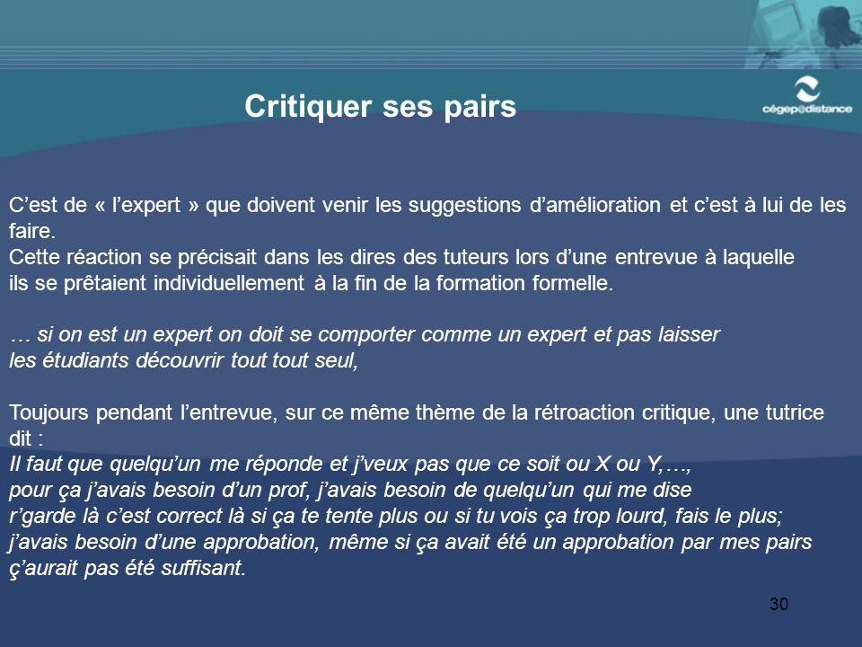 30 Critiquer ses pairs C'est de « l'expert » que doivent venir les suggestions d'amélioration et c'est à lui de les faire.