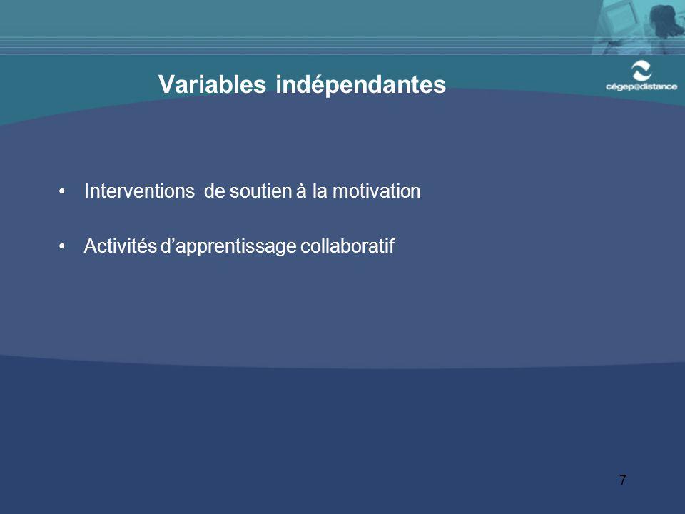 7 Variables indépendantes Interventions de soutien à la motivation Activités d'apprentissage collaboratif