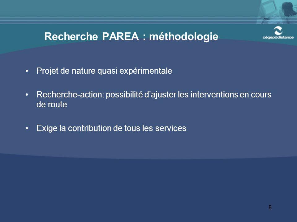 8 Recherche PAREA : méthodologie Projet de nature quasi expérimentale Recherche-action: possibilité d'ajuster les interventions en cours de route Exige la contribution de tous les services