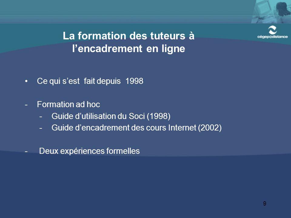 9 La formation des tuteurs à l'encadrement en ligne Ce qui s'est fait depuis 1998 -Formation ad hoc -Guide d'utilisation du Soci (1998) -Guide d'encadrement des cours Internet (2002) - Deux expériences formelles