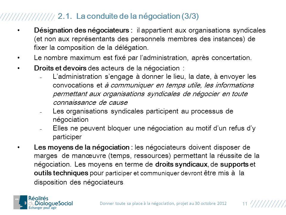 Désignation des négociateurs : il appartient aux organisations syndicales (et non aux représentants des personnels membres des instances) de fixer la
