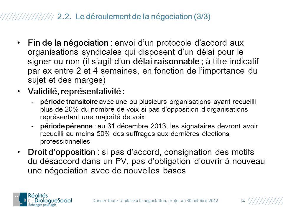Fin de la négociation : envoi d'un protocole d'accord aux organisations syndicales qui disposent d'un délai pour le signer ou non (il s'agit d'un déla