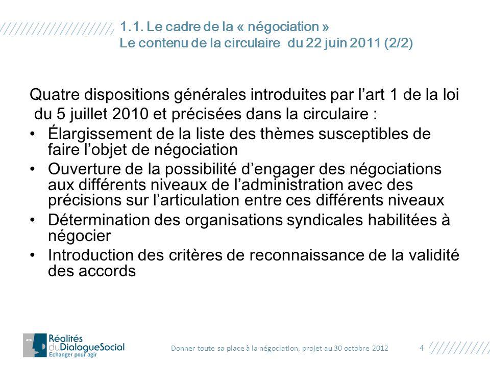 Quatre dispositions générales introduites par l'art 1 de la loi du 5 juillet 2010 et précisées dans la circulaire : Élargissement de la liste des thèm