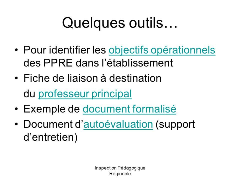 Inspection Pédagogique Régionale Quelques outils… Pour identifier les objectifs opérationnels des PPRE dans l'établissementobjectifs opérationnels Fic