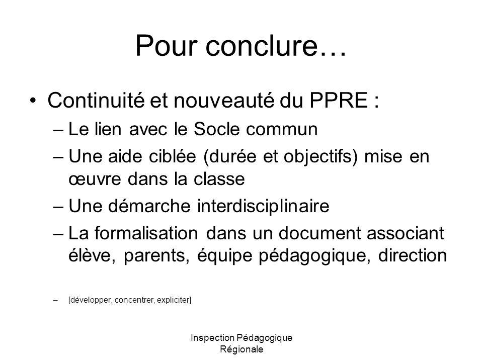 Inspection Pédagogique Régionale Pour conclure… Continuité et nouveauté du PPRE : –Le lien avec le Socle commun –Une aide ciblée (durée et objectifs)
