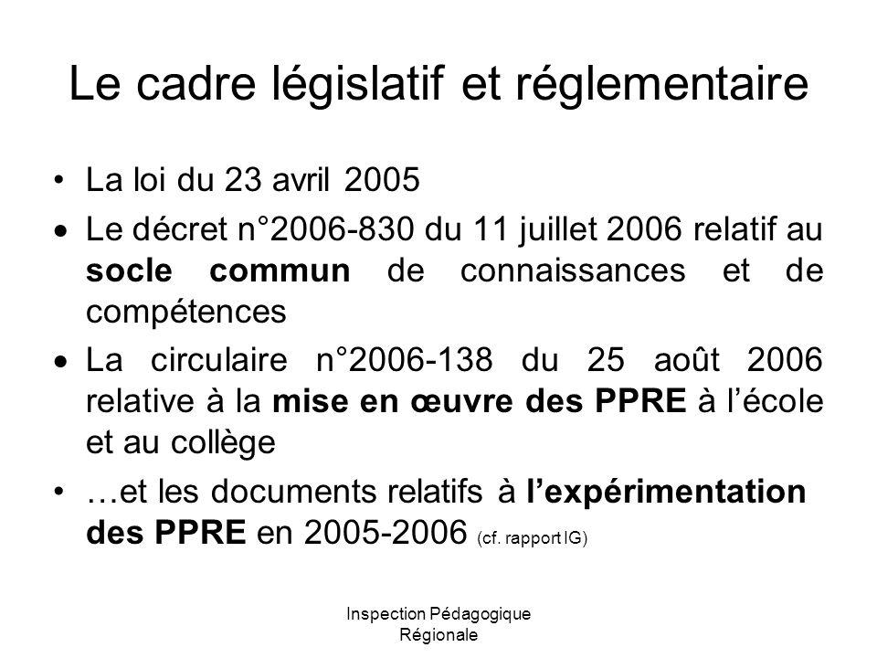 Inspection Pédagogique Régionale Le cadre législatif et réglementaire La loi du 23 avril 2005  Le décret n°2006-830 du 11 juillet 2006 relatif au soc