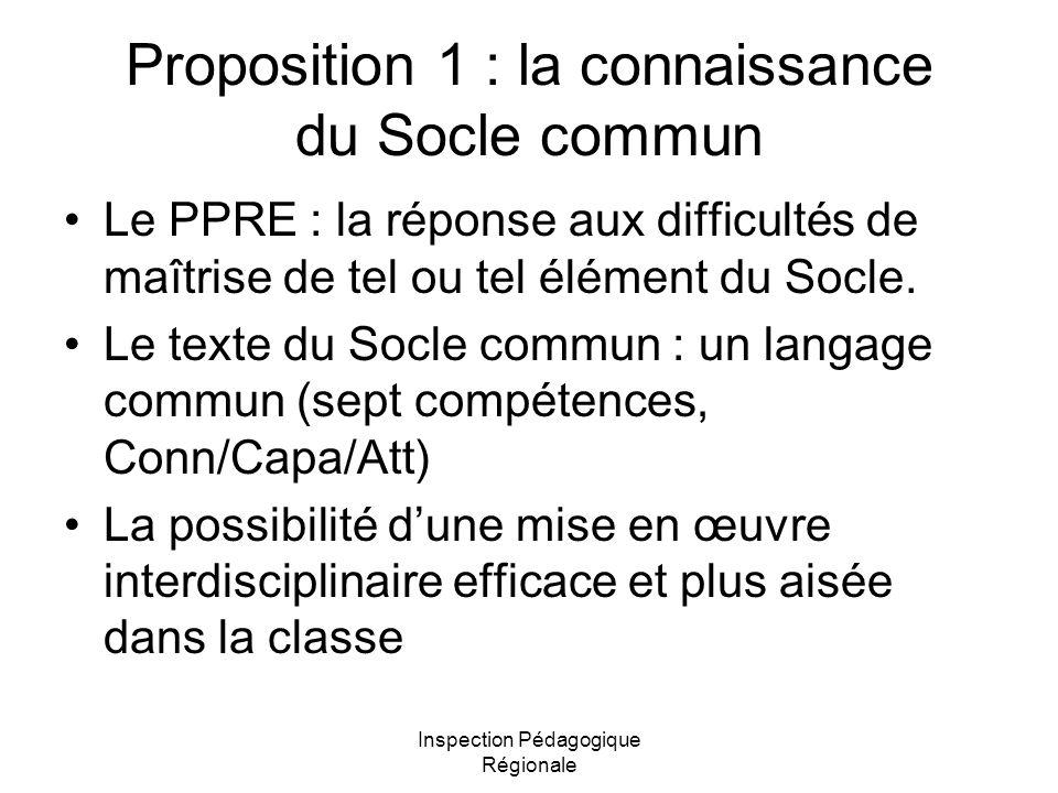 Inspection Pédagogique Régionale Proposition 1 : la connaissance du Socle commun Le PPRE : la réponse aux difficultés de maîtrise de tel ou tel élémen