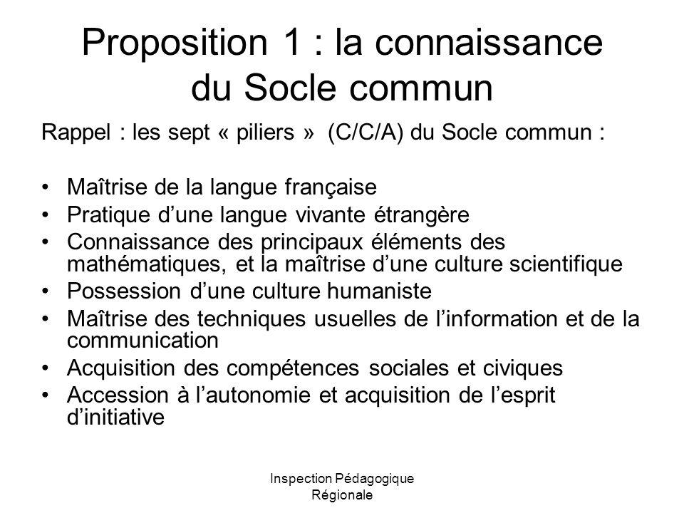 Inspection Pédagogique Régionale Proposition 1 : la connaissance du Socle commun Rappel : les sept « piliers » (C/C/A) du Socle commun : Maîtrise de l