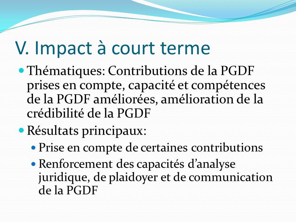 V. Impact à court terme Thématiques: Contributions de la PGDF prises en compte, capacité et compétences de la PGDF améliorées, amélioration de la créd