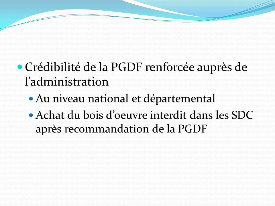 Crédibilité de la PGDF renforcée auprès de l'administration Au niveau national et départemental Achat du bois d'oeuvre interdit dans les SDC après recommandation de la PGDF