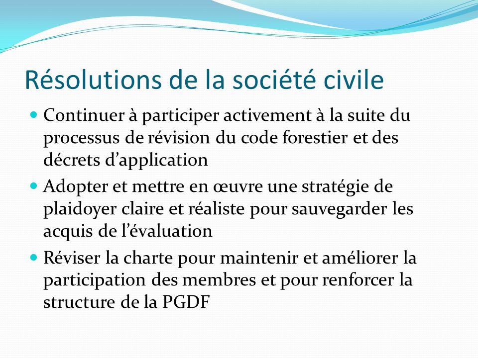 Résolutions de la société civile Continuer à participer activement à la suite du processus de révision du code forestier et des décrets d'application Adopter et mettre en œuvre une stratégie de plaidoyer claire et réaliste pour sauvegarder les acquis de l'évaluation Réviser la charte pour maintenir et améliorer la participation des membres et pour renforcer la structure de la PGDF