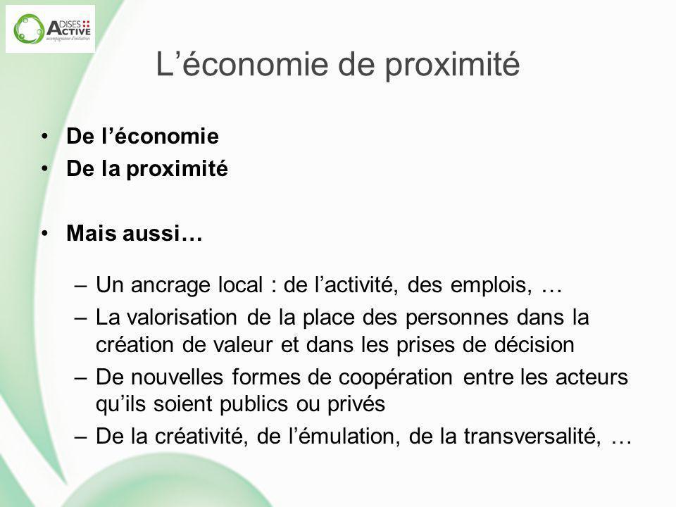 L'économie de proximité De l'économie De la proximité Mais aussi… –Un ancrage local : de l'activité, des emplois, … –La valorisation de la place des p