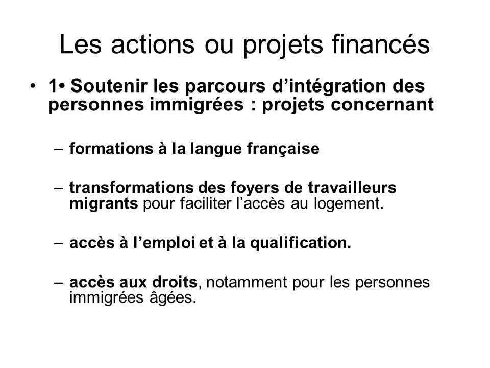 Les actions ou projets financés 1 Soutenir les parcours d'intégration des personnes immigrées : projets concernant –formations à la langue française –
