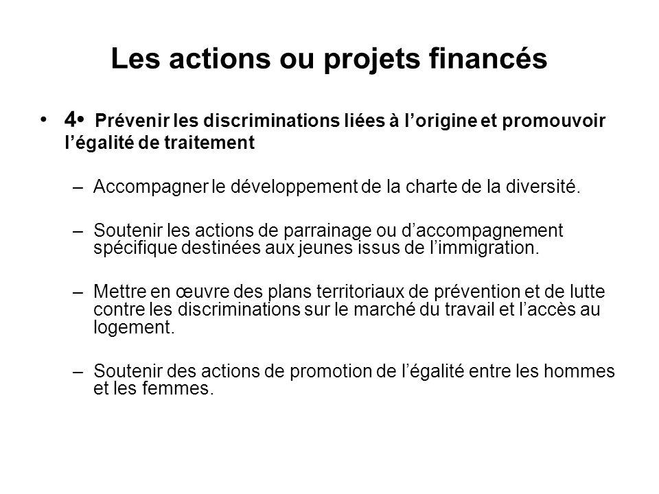 Les actions ou projets financés 4 Prévenir les discriminations liées à l'origine et promouvoir l'égalité de traitement –Accompagner le développement d