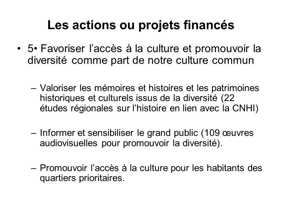 Les actions ou projets financés 5 Favoriser l'accès à la culture et promouvoir la diversité comme part de notre culture commun –Valoriser les mémoires