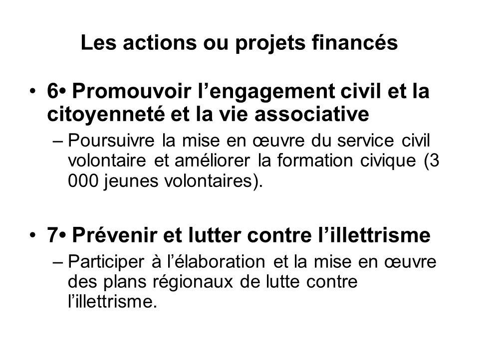 Les actions ou projets financés 6 Promouvoir l'engagement civil et la citoyenneté et la vie associative –Poursuivre la mise en œuvre du service civil