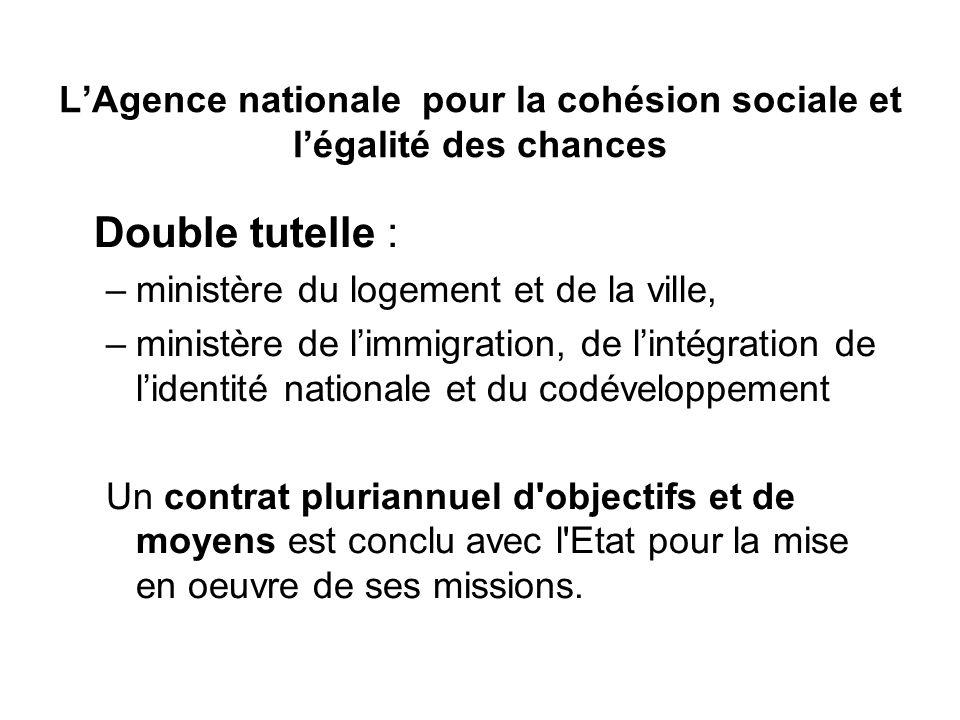 L'Agence nationale pour la cohésion sociale et l'égalité des chances Double tutelle : –ministère du logement et de la ville, –ministère de l'immigrati
