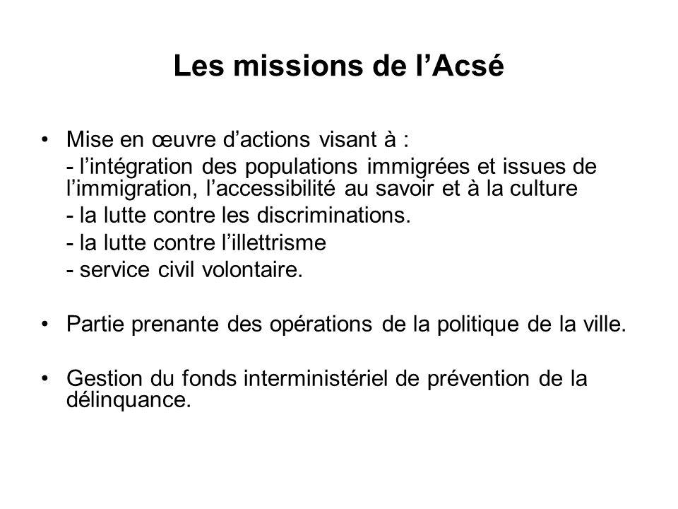 Budget de l'ACSE 94 % du budget 2009 est consacré aux programmes d intervention : - Politique de la ville et lutte contre les discriminations : 383,2 millions d'euros - Fonds interministériel de prévention de la délinquance : 34,7 millions d'euros - Intégration des populations immigrées : 13 millions d'euros - Service civil volontaire : 9 millions d'euros