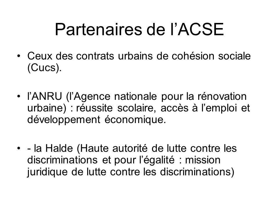 Partenaires de l'ACSE Ceux des contrats urbains de cohésion sociale (Cucs). l'ANRU (l'Agence nationale pour la rénovation urbaine) : réussite scolaire