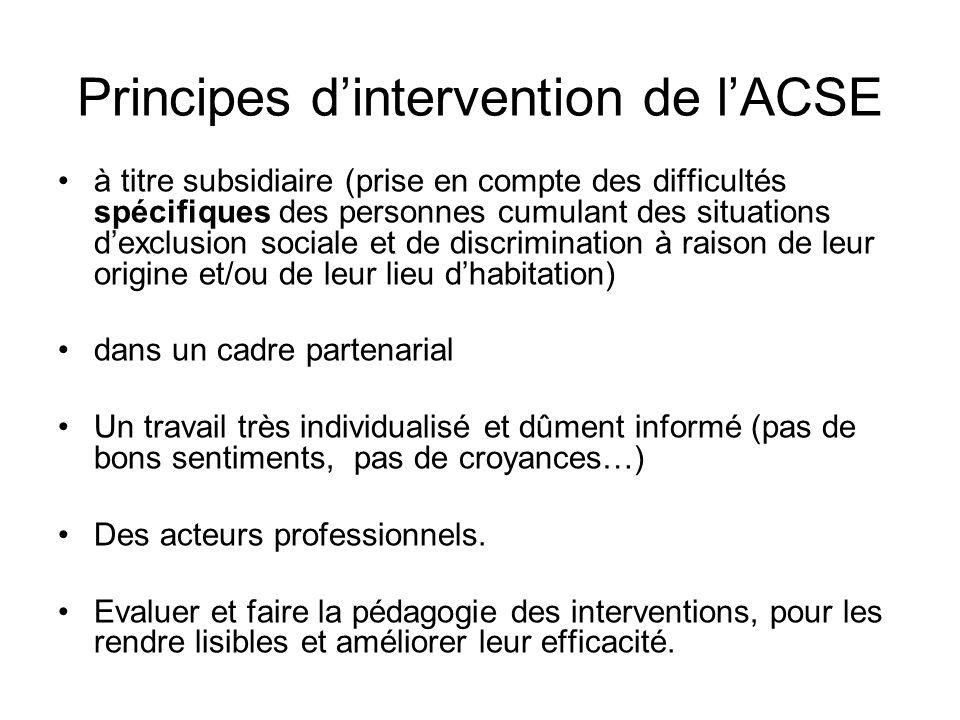 Principes d'intervention de l'ACSE à titre subsidiaire (prise en compte des difficultés spécifiques des personnes cumulant des situations d'exclusion