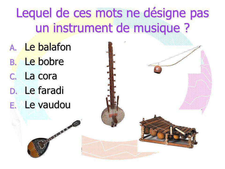 Lequel de ces mots ne désigne pas un instrument de musique ? A. Le balafon B. Le bobre C. La cora D. Le faradi E. Le vaudou