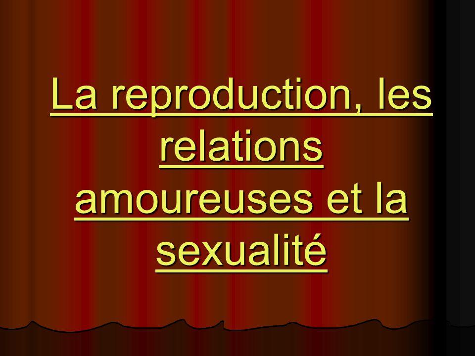 La reproduction, les relations amoureuses et la sexualité La reproduction, les relations amoureuses et la sexualité