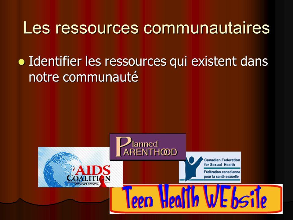 Les ressources communautaires Identifier les ressources qui existent dans notre communauté Identifier les ressources qui existent dans notre communaut
