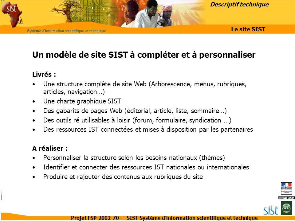 -Projet FSP 2002-70 – SIST Système d'information scientifique et technique Un modèle de site SIST à compléter et à personnaliser Livrés : Une structur