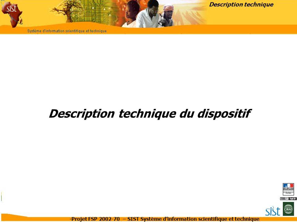-Projet FSP 2002-70 – SIST Système d'information scientifique et technique Description technique du dispositif Description technique