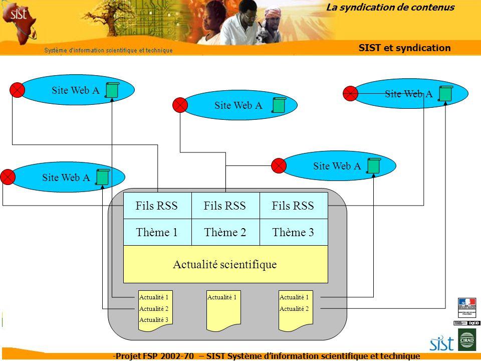 -Projet FSP 2002-70 – SIST Système d'information scientifique et technique Actualité scientifique Thème 2Thème 3 Site Web A Fils RSS Thème 1 Site Web