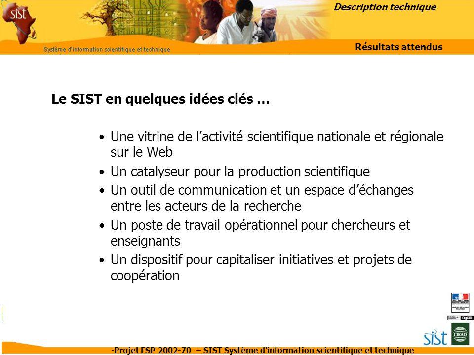 -Projet FSP 2002-70 – SIST Système d'information scientifique et technique Le SIST en quelques idées clés … Une vitrine de l'activité scientifique nat
