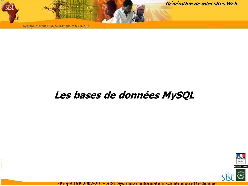 -Projet FSP 2002-70 – SIST Système d'information scientifique et technique Les bases de données MySQL Génération de mini sites Web