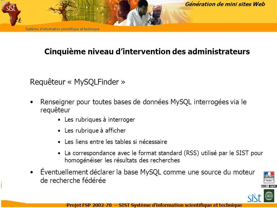 -Projet FSP 2002-70 – SIST Système d'information scientifique et technique Génération de mini sites Web Cinquième niveau d'intervention des administra