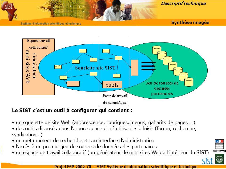 -Projet FSP 2002-70 – SIST Système d'information scientifique et technique L'espace collaboratif Cette partie du site Web est destinée aux équipes de projets où aux réseaux d'expertises qui souhaitent disposer d'une plate forme pour travailler et collaborer.