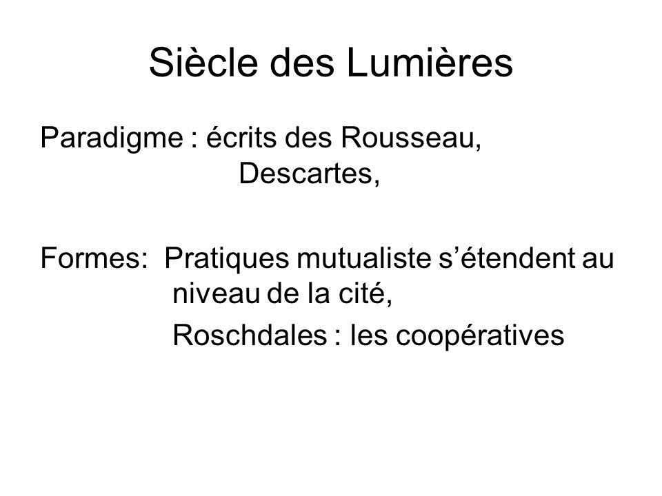 Siècle des Lumières Paradigme : écrits des Rousseau, Descartes, Formes: Pratiques mutualiste s'étendent au niveau de la cité, Roschdales : les coopératives