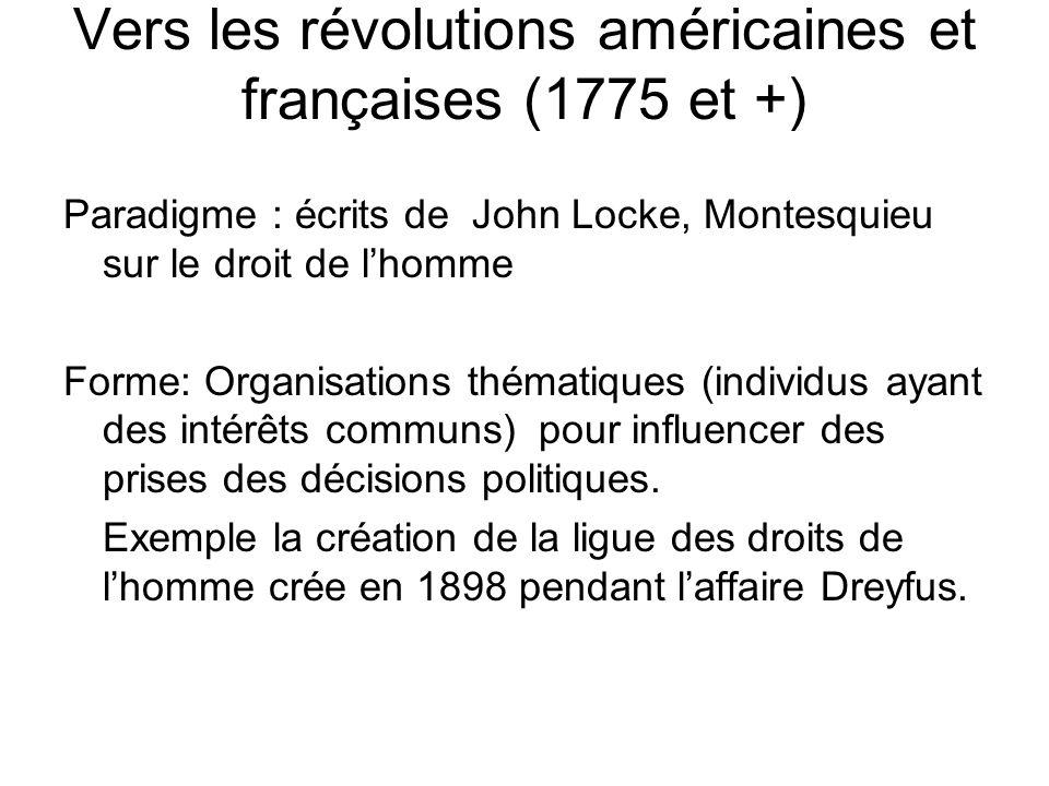 Vers les révolutions américaines et françaises (1775 et +) Paradigme : écrits de John Locke, Montesquieu sur le droit de l'homme Forme: Organisations thématiques (individus ayant des intérêts communs) pour influencer des prises des décisions politiques.