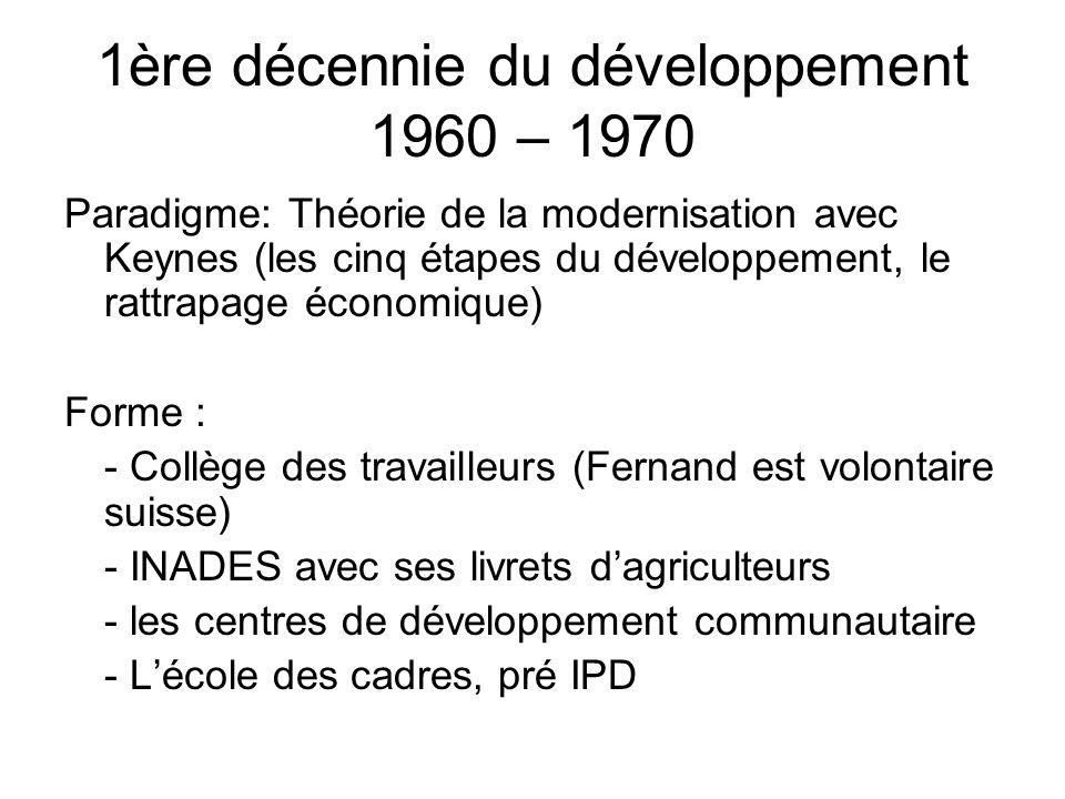 1ère décennie du développement 1960 – 1970 Paradigme: Théorie de la modernisation avec Keynes (les cinq étapes du développement, le rattrapage économique) Forme : - Collège des travailleurs (Fernand est volontaire suisse) - INADES avec ses livrets d'agriculteurs - les centres de développement communautaire - L'école des cadres, pré IPD
