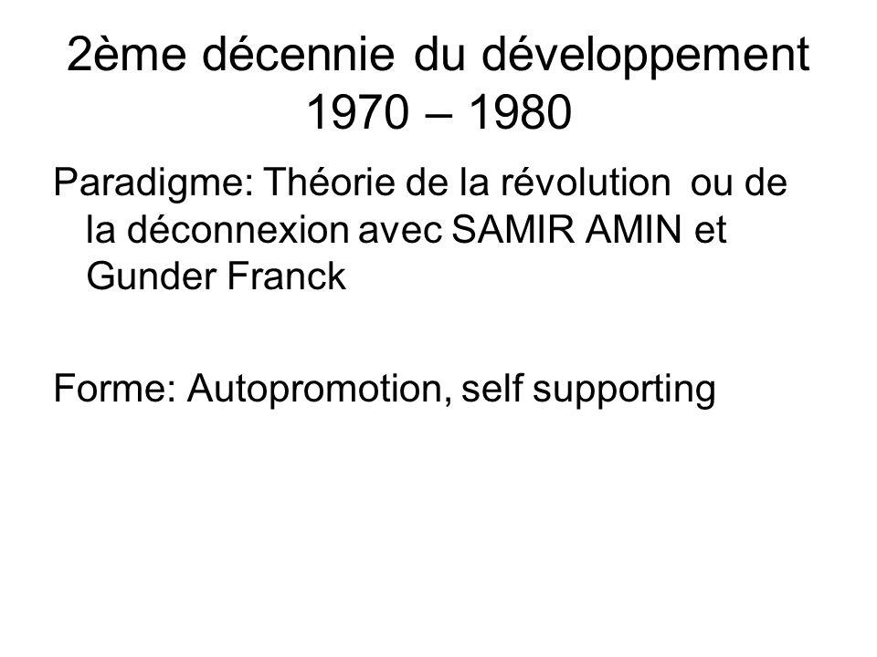 2ème décennie du développement 1970 – 1980 Paradigme: Théorie de la révolution ou de la déconnexion avec SAMIR AMIN et Gunder Franck Forme: Autopromotion, self supporting