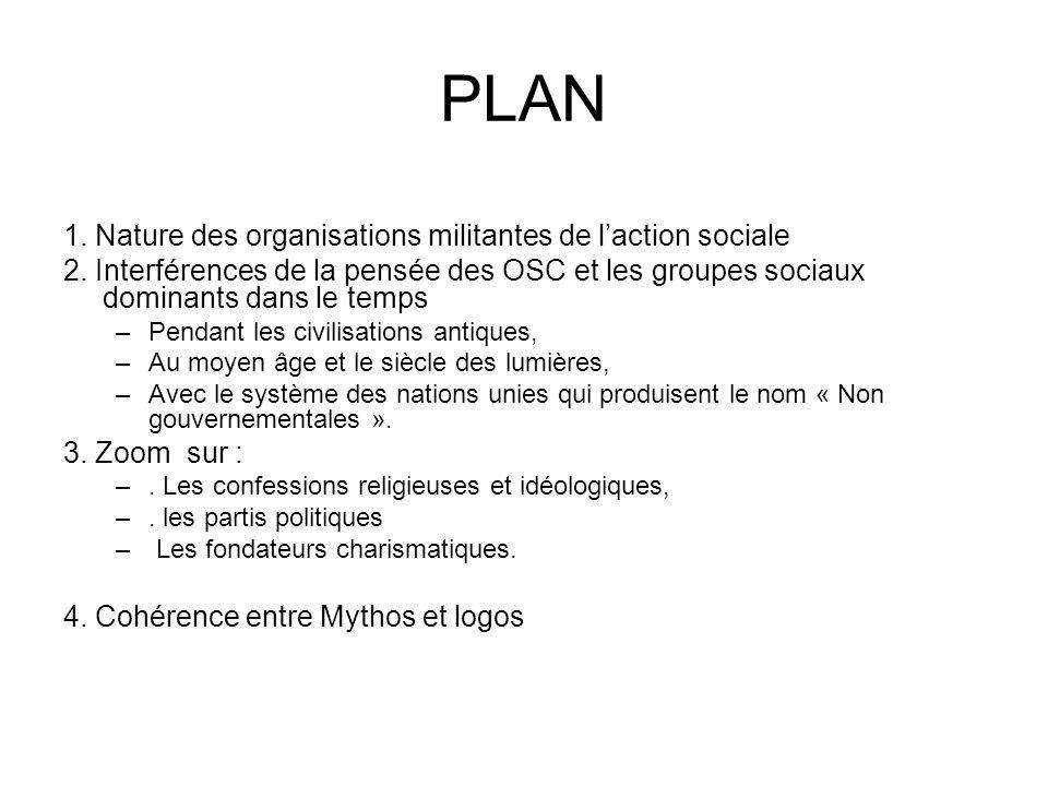 PLAN 1. Nature des organisations militantes de l'action sociale 2.