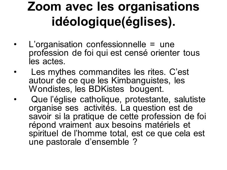 Zoom avec les organisations idéologique(églises).