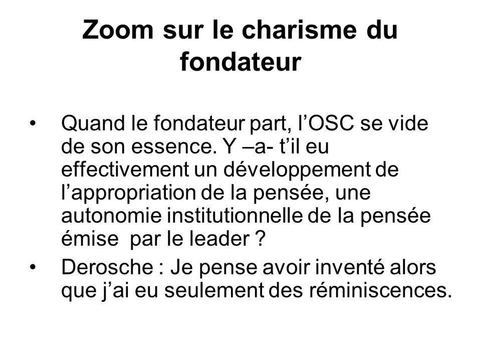 Zoom sur le charisme du fondateur Quand le fondateur part, l'OSC se vide de son essence.