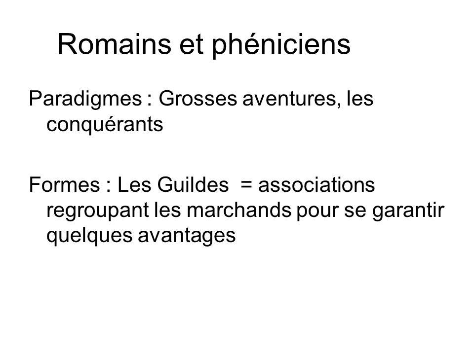 Romains et phéniciens Paradigmes : Grosses aventures, les conquérants Formes : Les Guildes = associations regroupant les marchands pour se garantir quelques avantages