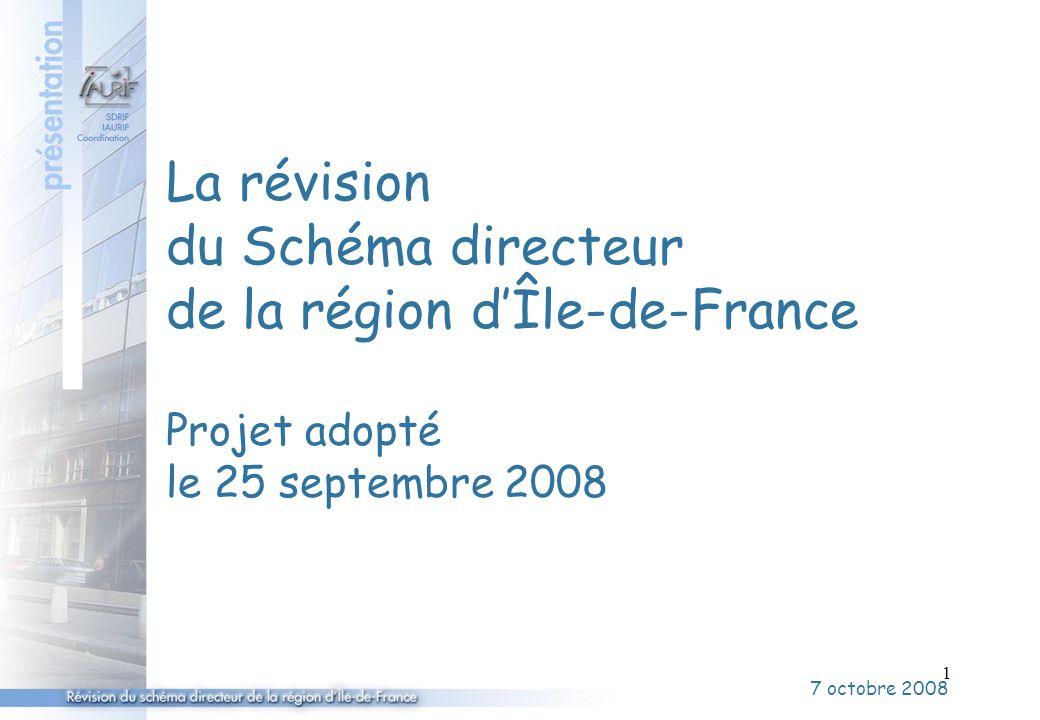 2 Depuis l'arrêt du projet de SDRIF février 2007 Les avis des personnes publiques (Etat, dont MEDAD, CESR, CG, chambres consulaires) = été 2007 L'enquête publique = d'octobre 2007 à juin 2008 Les négociations avec l'État = janv / avr 2008