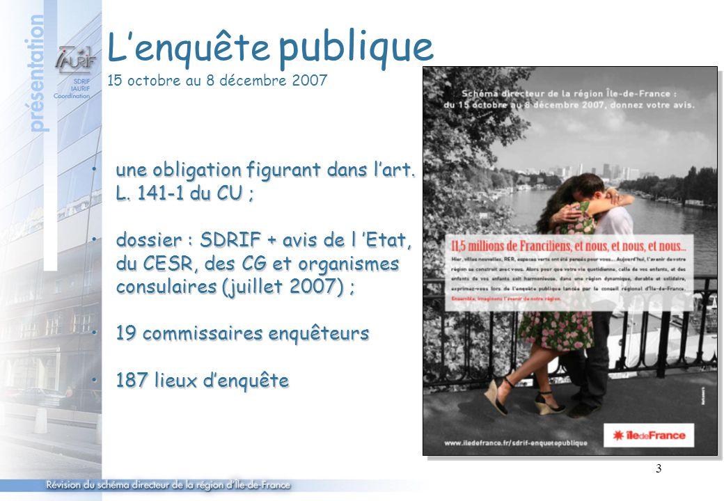 3 L'enquête publique 15 octobre au 8 décembre 2007 une obligation figurant dans l'art. L. 141-1 du CU ;une obligation figurant dans l'art. L. 141-1 du