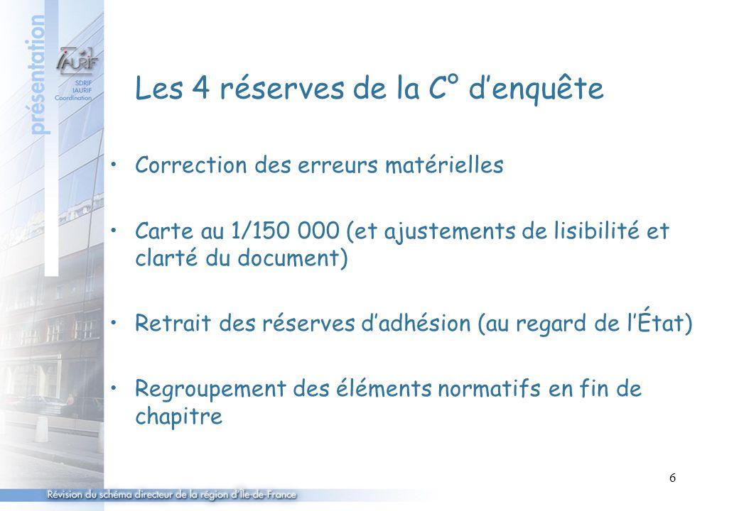 6 Les 4 réserves de la C° d'enquête Correction des erreurs matérielles Carte au 1/150 000 (et ajustements de lisibilité et clarté du document) Retrait des réserves d'adhésion (au regard de l'État) Regroupement des éléments normatifs en fin de chapitre
