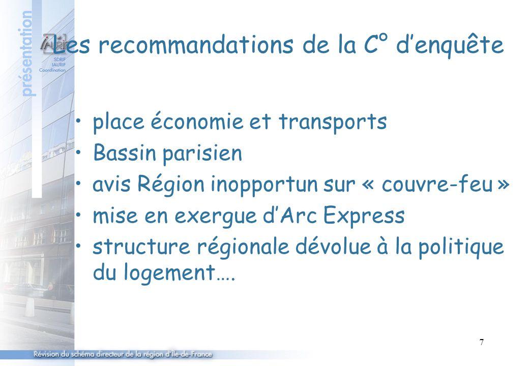 7 Les recommandations de la C° d'enquête place économie et transports Bassin parisien avis Région inopportun sur « couvre-feu » mise en exergue d'Arc