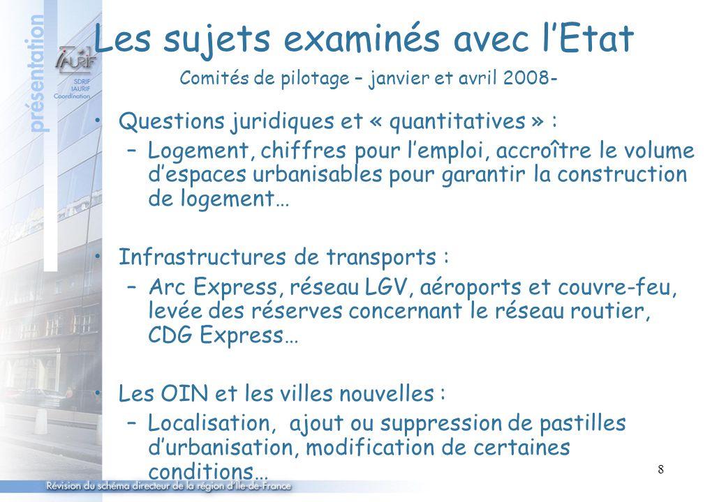 8 Les sujets examinés avec l'Etat Comités de pilotage – janvier et avril 2008- Questions juridiques et « quantitatives » : –Logement, chiffres pour l'