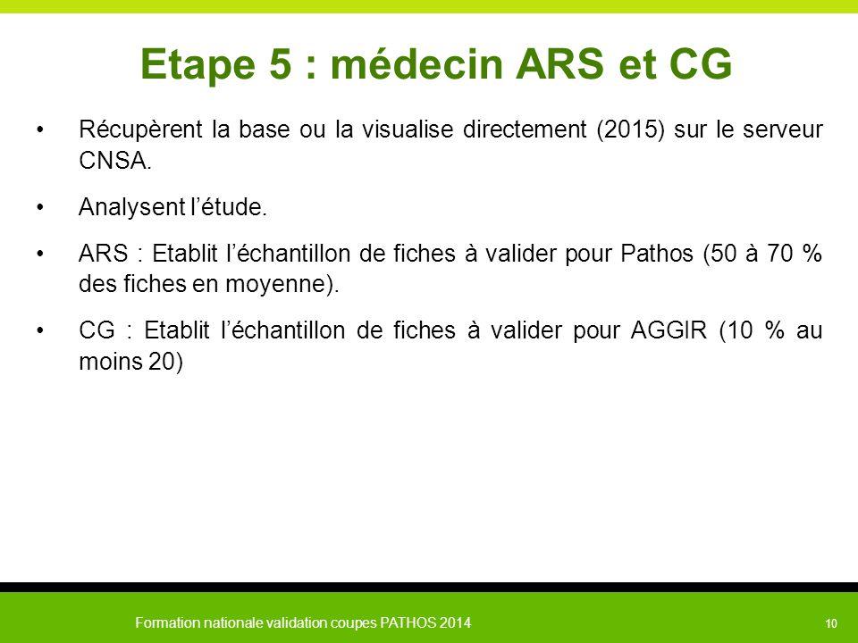 Formation nationale validation coupes PATHOS 2014 10 Etape 5 : médecin ARS et CG Récupèrent la base ou la visualise directement (2015) sur le serveur