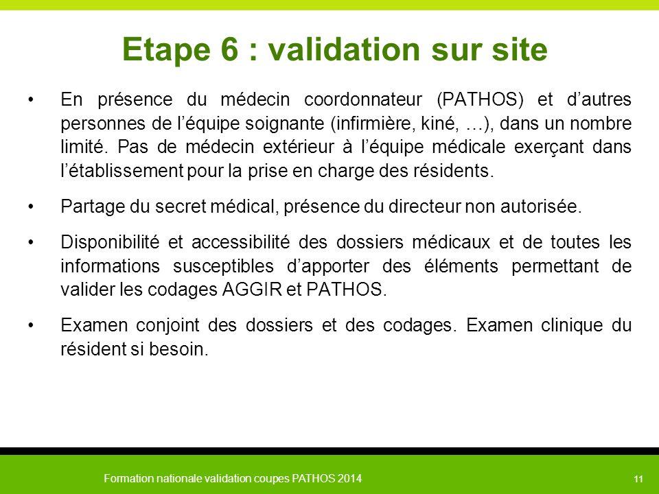 Formation nationale validation coupes PATHOS 2014 11 Etape 6 : validation sur site En présence du médecin coordonnateur (PATHOS) et d'autres personnes
